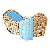 Isabella Alicia Natural Izzy-Pod Moses Basket (Bubble Blue)