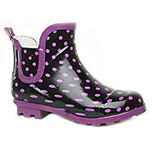 Brantano Teen Girls Ankle Spot Teen Black Purple Ankle Boot Welly Wellington Winter Boots - Black