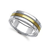 Jewelco London Bespoke Hand-Made 18 carat Yellow & White Gold 8mm Flat Court Wedding / Commitment Ring,