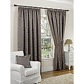 Millie Ready Made Curtains Pair, 90 x 90 Mink Colour, Modern Designer Look Pencil pleated curtains