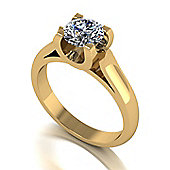 18ct Gold 6.5mm Round Brilliant Moissanite Single Stone Ring