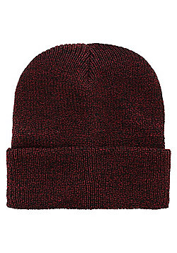 Heather Heritage Beanie Burgundy - White