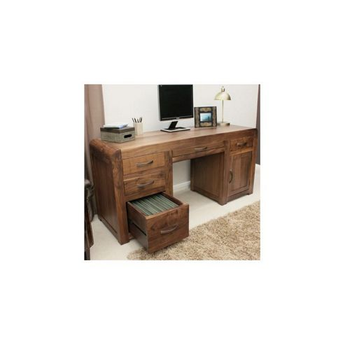 Baumhaus Shiro Twin Pedestal Computer Desk in Walnut