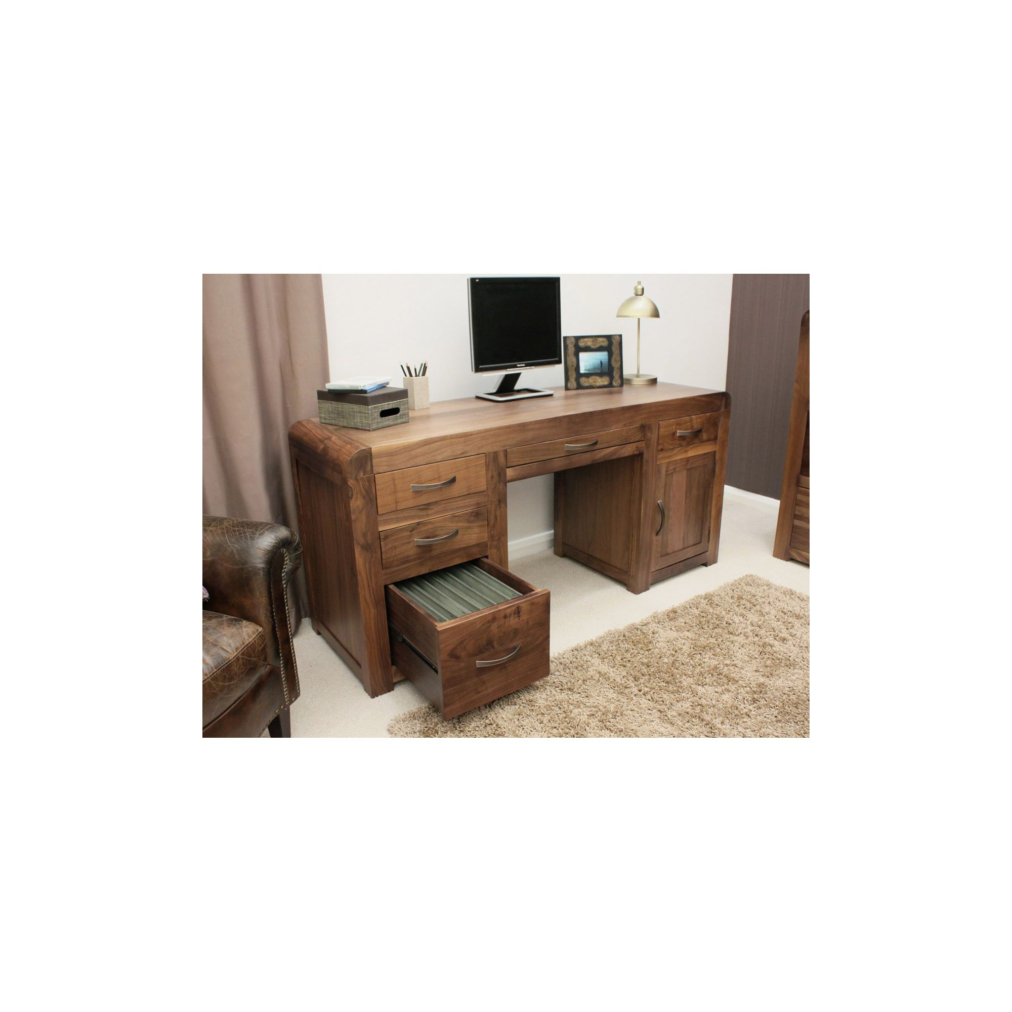 Baumhaus Shiro Twin Pedestal Computer Desk in Walnut at Tesco Direct