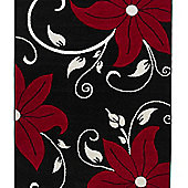 Think Rugs Verona Black/Red Hand Carved Rug - 60 cm x 120 cm (2 ft x 4 ft)
