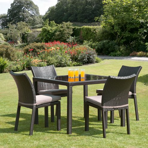 Buy Nevada 1m 4 Seat Brown Rattan Garden Dining Set From Our Garden Furniture