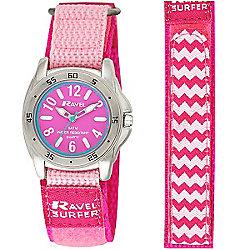 Girls Pink Velcro Strap Waterproof Watch