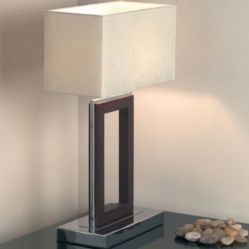 Endon Lighting Table Lamp in Dark Wood/Chrome