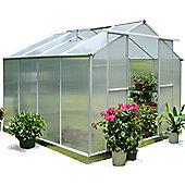 Nison EaZi-Click 8X8 Aluminium Polycarbonate Greenhouse in Silver including Base