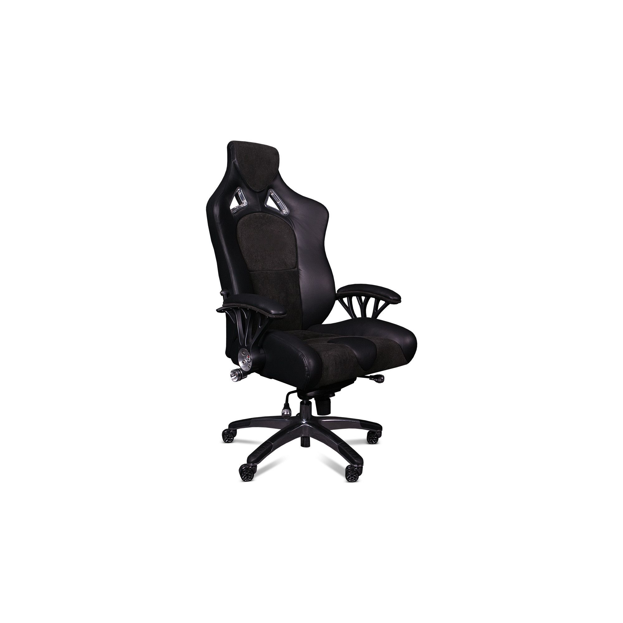 ProMech Racing Speed998 Upholstered Office Racing Chair - Shadow Black Leather/Suede at Tesco Direct