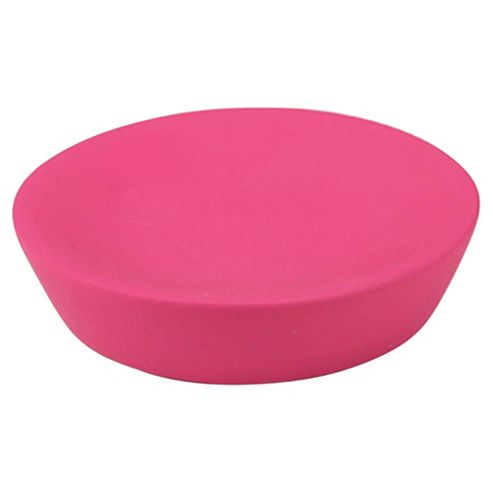 Tesco rubber touch soap dish pink