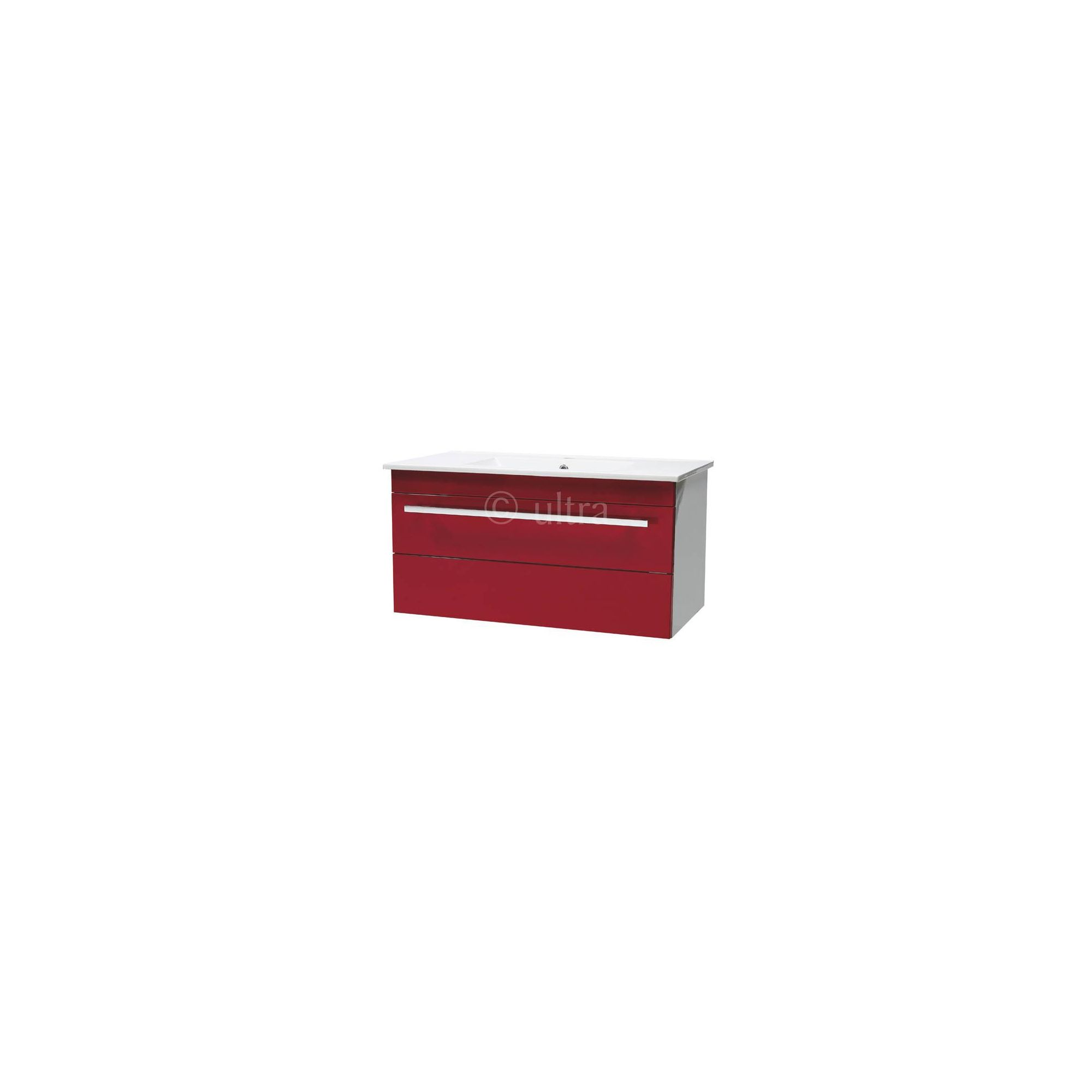 ultra design red wall mounted unit with ceramic basin 450mm