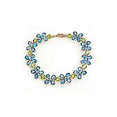 QP Jewellers 6.5in Peridot & Blue Topaz Blossom Bracelet in 14K Rose Gold