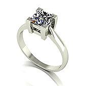 18ct White Gold 6.0mm Square Brilliant Moissanite Single Stone Ring