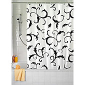 Wenko Bouquet Nero Textile Shower Curtain