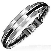 Urban Male Stainless Steel Wire & Black Rubber Contemporary Bangle