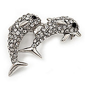 Cute Diamante Dolphin Brooch (Rhodium Plated Metal)