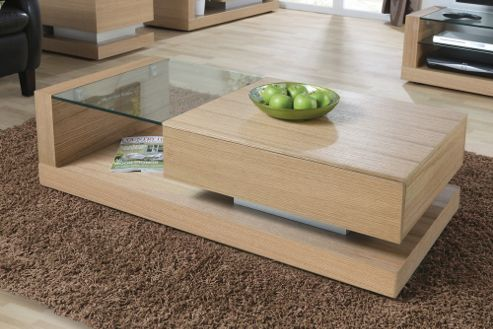 Jual Cube Coffee Table with Concealed Drawer - Oak - Clear