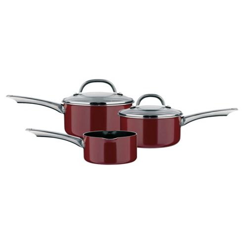 Prestige 3 Piece Saucepan Set - Red 14milk,16,18cm