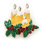 Holly and Christmas Yellow, Whtie, Green Enamel Candles Brooch In Gold Plating - 43mm Length