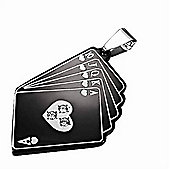 Urban Male Black Stainless Steel CZ Set Playing Card Pack Pendant