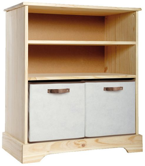 Solid Pine 2 Drawer Bookcase with Fabric Drawers