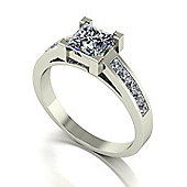 18ct White Gold 5.5mm Square Brilliant Moissanite Single Stone Ring with Channel Set Shoulders