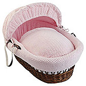 Clair De Lune Honeycomb Dark Wicker Moses Basket, Pink