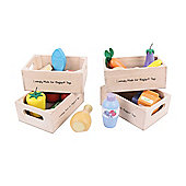 Bigjigs Toys BJ317 Wooden Play Food Healthy Eating Fish Set