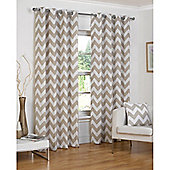 Hamilton McBride Chevron Lined Ring Top Curtains - Natural
