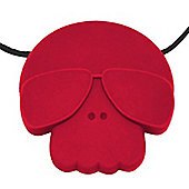 Jellystone Skull Teething Pendant in Scarlet Red