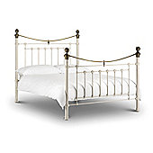 Victoria Stone White 3FT Single with Brass Metal Bed Frame