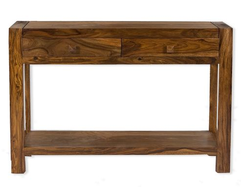Elements Block Console Table in Warm Lacquer