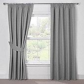 Julian Charles Luna Silver Grey Blackout Pencil Pleat Curtains - 44x72 Inches (112x183cm)