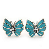 Small Light Blue Enamel Diamante Butterfly Stud Earrings In Silver Finish - 18mm Length