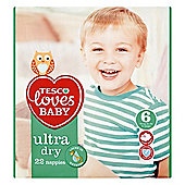 TESCO LOVES BABY ULTRA DRY SIZE 6 EXTRA LARGE CARRY PACK - 22 NAPPIES