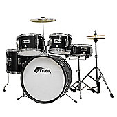 Tiger Junior Black Drum Kit - 5 Piece with Stool and Sticks