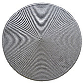 Round Woven Placemats, Silver, 2 Pack