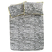 Buildings Drawings Duvet Set - Black & White