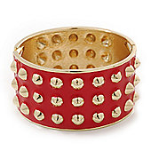 Chunky Bright Red Enamel Spiked Hinged Bangle In Gold Plating - 19cm Length