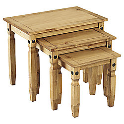 Home Essence Corona Nest of Tables in Distressed Wax Pine