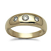 Jewelco London 9 Carat Yellow Gold 34pts Invisible Set 3 Stone Trilogy Ring