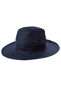 F&F Wide Brim Hat with Linen - Navy
