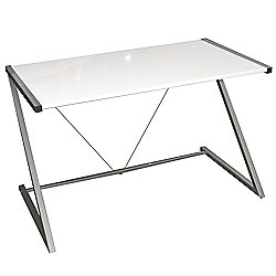 Indigo - Gloss Office Desk / Workstation - White