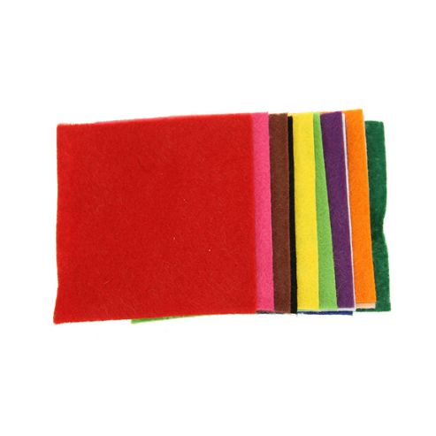 Felt Squares Pack 75mm 12 Assorted Colours
