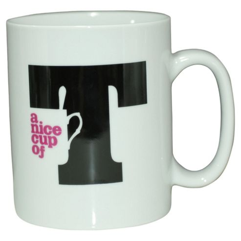 Tesco Text T Large Single Porcelain Mug