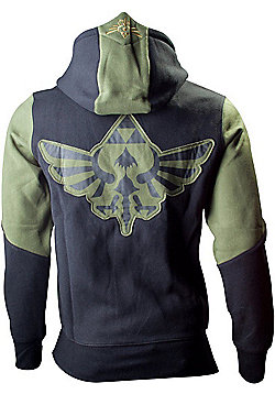 Nintendo Legend of Zelda Medium Mens Hoodie with Zelda Back Design, Green/Black - Gaming T-Shirts