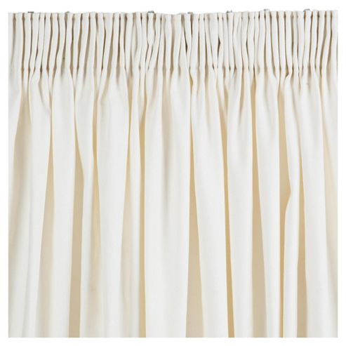 Tesco Plain Canvas Pencil Pleat Curtains W162xL229cm (64x90''), Ivory