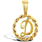 Jewelco London 9ct Gold Rope Initial ID Personal Pendant, Letter D - 0.9g