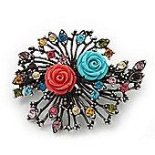 Vintage Burn Silver Crystal 'Rose' Barrette Hair Clip Grip - 65mm Across
